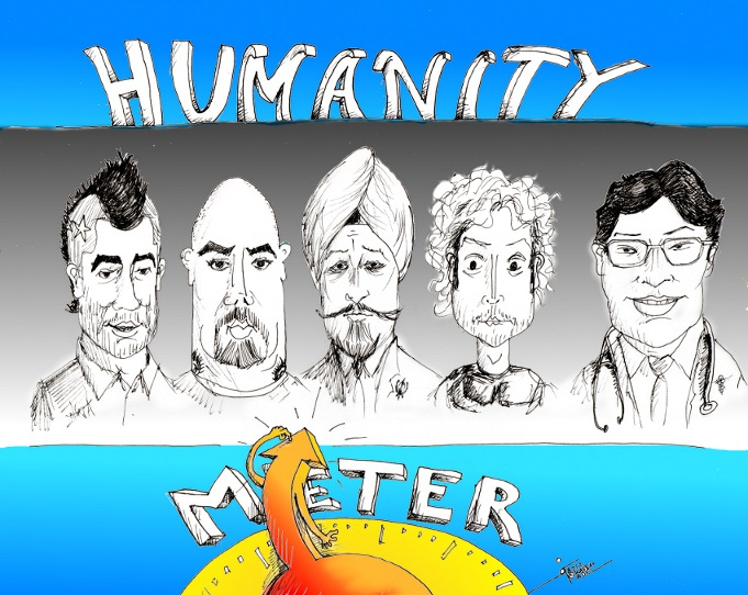 "Political Cartoon:""Humanity Meter"" by Iranian American Cartoonist Kaveh Adel"