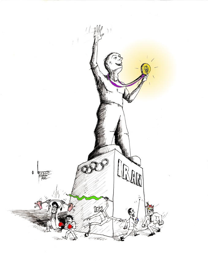 "Political Cartoon: ""IranOlympics 2012"" by Iranian American Cartoonist  Kaveh Adel"