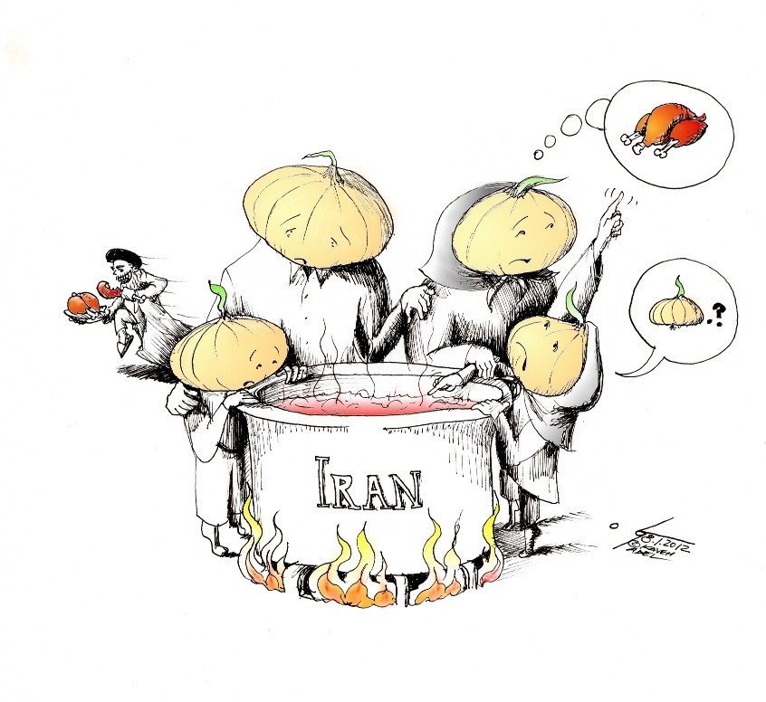 "Political Cartoon: ""Iranian Onion Soup"" by Iranian American Cartoonist Kaveh Adel"