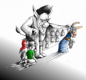 "Political Cartoon ""Jigar Puppet & Donkey"" by Iranian American Cartoonist Kaveh Adel"