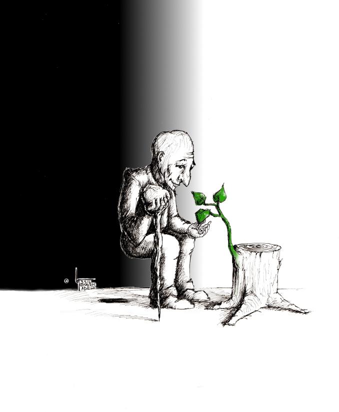 "Cartoon: ""Birthday"" by Iranian American Cartoonist and Artist Kaveh Adel.  Birthday."
