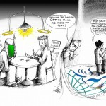 Political Cartoon &quot;Ahmadinejad and the Rapture at NAM Summit&quot; by Iranian American Cartoonist Kaveh Adel