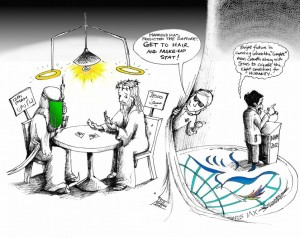 "Political Cartoon ""Ahmadinejad and the Rapture at NAM Summit"" by Iranian American Cartoonist Kaveh Adel"