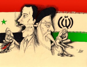 Political Cartoon &quot;No Medicine But Bullets for People&quot; by Iranian American Cartoonist Kaveh Adel