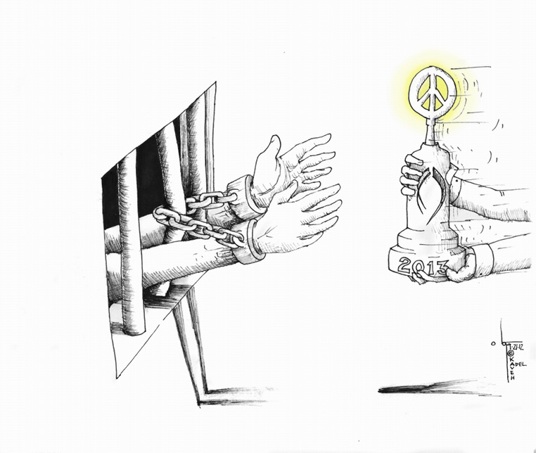 "Political Cartoon: ""Peace Prize 2013"" by Iranian American Cartoonist Kaveh Adel"