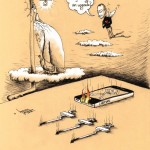 Political Cartoon &quot;iHumanity Heart Upgrade&quot; 2012 by Iranian American Cartoonist and Artist Kaveh Adel