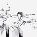 "Political Cartoon: ""Democracy of Money"" by Iranian American Cartoonist and Artist Kaveh Adel"