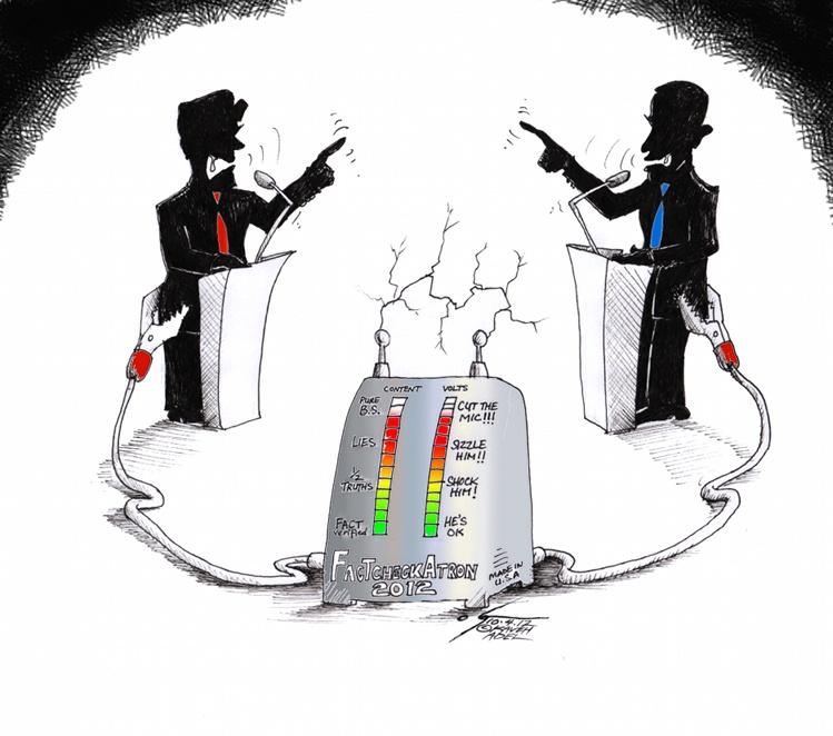 "Political Cartoon ""FactCheckATron 2012""  by Iranian American Cartoonist Kaveh Adel"