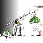 Political Cartoon: &quot;Iran Scaling rials, Tyrants steal Dollars&quot; by Iranian American Cartoonist Kaveh Adel