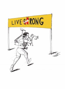 "Cartoon: ""Lance Live ArmStWrong"" by Iranian American Cartoonist Kaveh Adel."