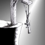 "Political Cartoon: ""No To Execution"" by Iranian American Cartoonist Kaveh Adel."
