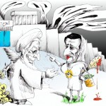 Political Cartoon: &quot;Prostitutenejad Bribe-Fail into Evin&quot; by Iranian American Cartoonist Kaveh Adel