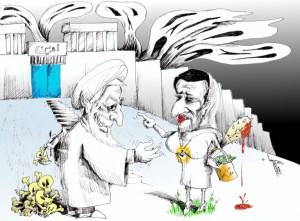 "Political Cartoon: ""Prostitutenejad Bribe-Fail into Evin"" by Iranian American Cartoonist Kaveh Adel"