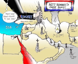 "Political Cartoon: ""Romney Geography Lesson"" by Iranian American Cartoonist Kaveh Adel"