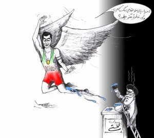 "Political Cartoon: ""Takhti's Statue's Advice"" by Iranian American Cartoonist Kaveh Adel"
