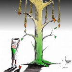 "Political Cartoon: ""The Unforgiving Tree"" by Iranian American Cartoonist Kaveh Adel"