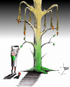 Political Cartoon: &quot;The Unforgiving Tree&quot; by Iranian American Cartoonist Kaveh Adel