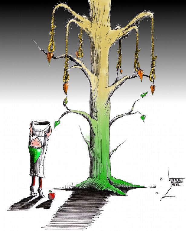 "Political Cartoon: ""The Unforgiving Tree"" by Iranian American Cartoonist Kaveh Adel"