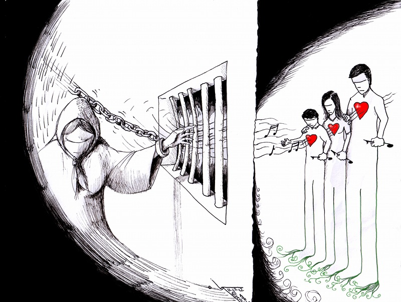 "Political Cartoon: ""Nasrin Sotoudeh's Fading Music"" by Iranian American Cartoonist Kaveh Adel"