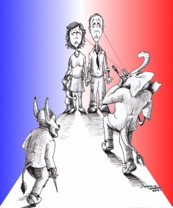 """Political Cartoon: """"Anything for a Vote"""" by Iranian American Cartoonist Kaveh Adel"""