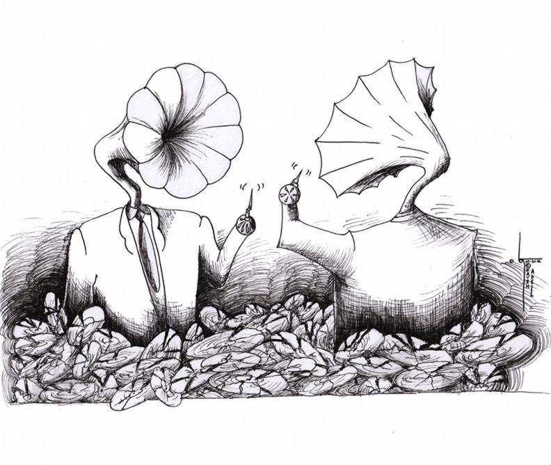 "Political Cartoon: ""Broken Records"" by Iranian American Cartoonist Kaveh Adel"