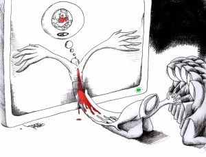 "Political Cartoon ""Heavenly Love For Humanity"" 2012 by Iranian American Cartoonist and Artist Kaveh Adel"
