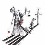 Political Cartoon &quot;Hungry for Blind Justice&quot; for Nasrin Sotoudeh by Iranian American Cartoonist Kaveh Adel