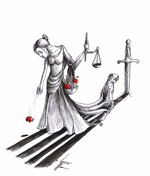 """Political Cartoon """"Hungry for Blind Justice"""" for Nasrin Sotoudeh by Iranian American Cartoonist Kaveh Adel"""