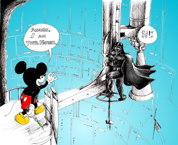 """Cartoon: """"Mickey Mouse and Darth Vader"""" by Iranian American Cartoonist Kaveh Adel"""