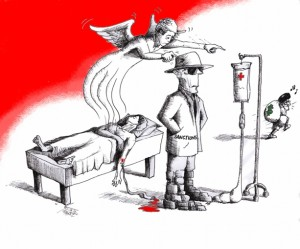 "Political cartoon ""Iran Sanctions Redirect"" 2012 Iranian American Cartoonist Kaveh Adel"