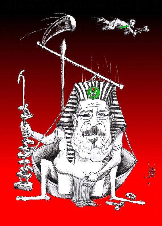 "Political cartoon: ""Morsi Democracy"" Iranian American Cartoonist Kaveh Adel"