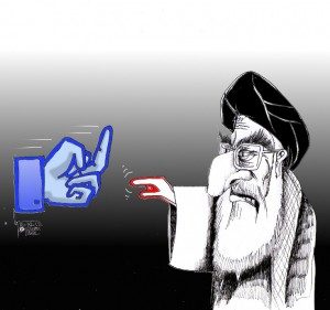 "Political Cartoon: ""Khamenei Pokes Facebook"" by Iranian American Cartoonist Kaveh Adel."
