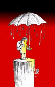 "Political Cartoon: ""Umbrella"" by Iranian American Cartoonist Kaveh Adel"