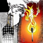 Cartoon: &quot;Fire of Child&#039;s Cry feeds Golden gifts &quot; by Iranian American Cartoonist Kaveh Adel :       : 