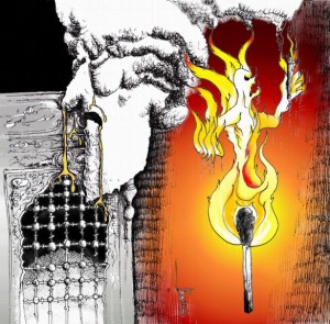 "Cartoon: ""Fire of Child's Cry feeds Golden gifts "" by Iranian American Cartoonist Kaveh Adel کارتون: «آتش فریاد کودک ناودان هدایای طلائی» از:کاوه عادل"