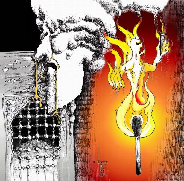 "Cartoon: ""Fire of Child's Cry feeds Golden gifts "" by Iranian American Cartoonist Kaveh Adel کارتون: «آتش فریاد کودک  ناودان هدایای طلائی» از:کاوه عادل"