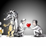 Political cartoon: &quot;Warm-hearted and Cold-blooded&quot; by Iranian American Cartoonist Kaveh Adel