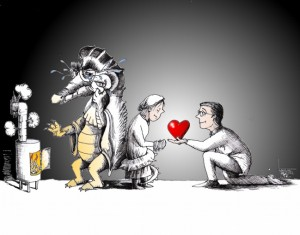 "Political cartoon: ""Warm-hearted and Cold-blooded"" by Iranian American Cartoonist Kaveh Adel"