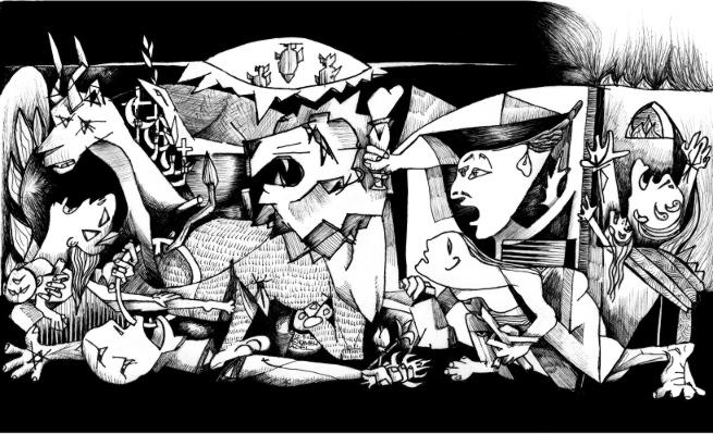 "Cartoon/Sketch: ""Palesraelranica"" by Iranian American Cartoonist Kaveh Adel"