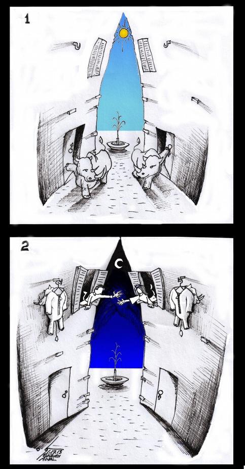 "Cartoon: ""RhinoceroSapiens"" Eugène Ionesco Inspired, by Cartoonist Kaveh Adel"