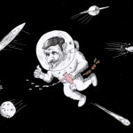 Cartoon titled: &quot;Ahmadinejad in Space&quot; by Iranian American Cartoonist Kaveh Adel