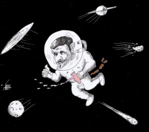 "Cartoon titled: ""Ahmadinejad in Space"" by Iranian American Cartoonist Kaveh Adel"