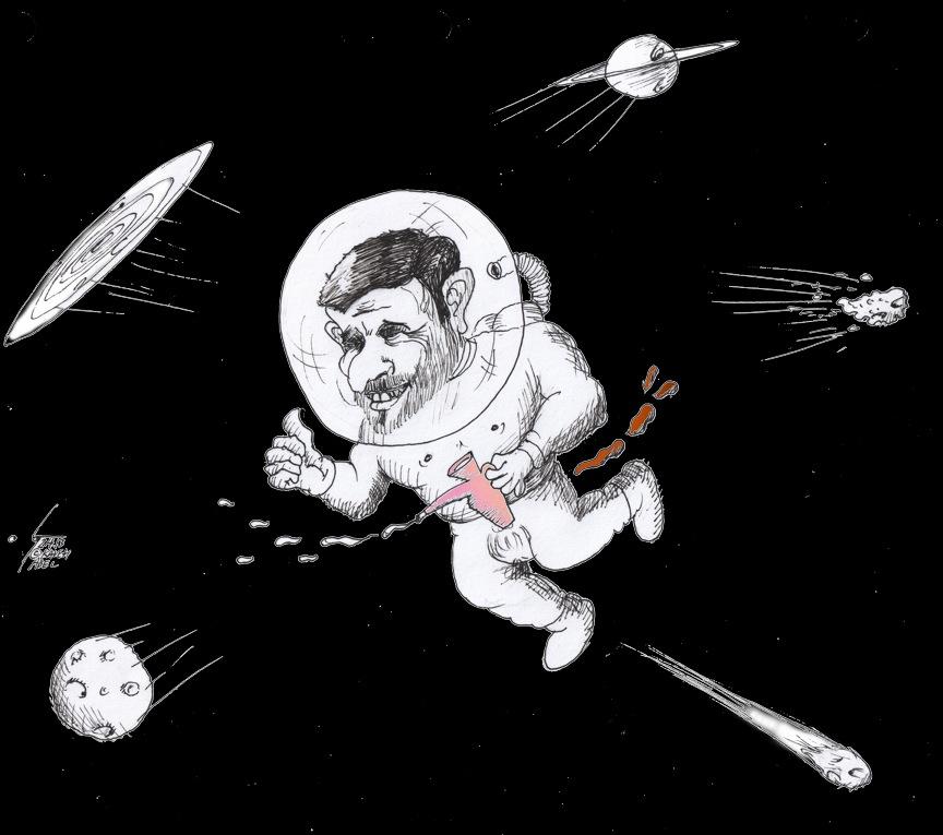 "Cartoon titled: ""Ahmadinejad in Space"" by Iranian American Cartoonist Kaveh Adel"