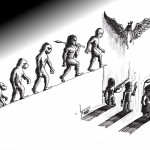 Political Cartoon: &quot;Devolution Evolution Choice&quot; By Kaveh Adel Iranian American Cartoonist