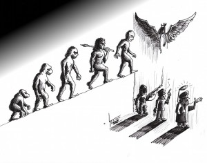 "Political Cartoon: ""Devolution Evolution Choice"" By Kaveh Adel Iranian American Cartoonist"