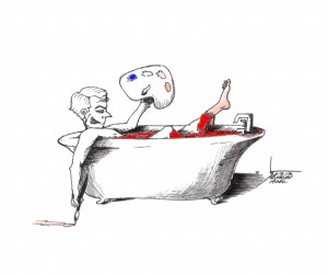 """Political Cartoon: """"Painter Cleans the President"""" By Kaveh Adel Iranian American Cartoonist"""