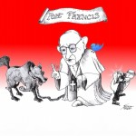 "Cartoon: ""Pope Francis and the Wolf"" by Iranian American Cartoonist Kaveh Adel"