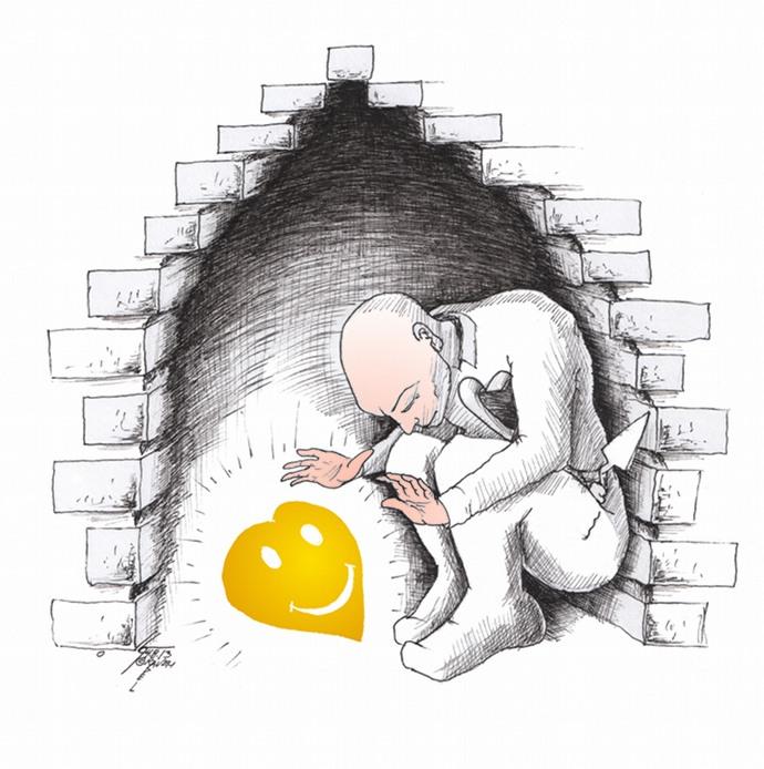 "Link to Cartoon: ""Happiness Within"" By Kaveh Adel Iranian American Cartoonist"