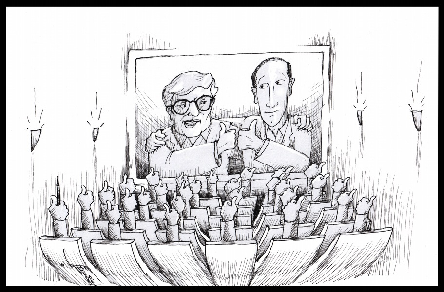 "Cartoon titled: ""Roger Ebert's Final Performance"" By Kaveh Adel Iranian American Cartoonist"