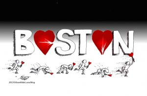 "Cartoon titled: ""Humanity Wins Boston "" By Iranian American Cartoonist, Kaveh Adel"